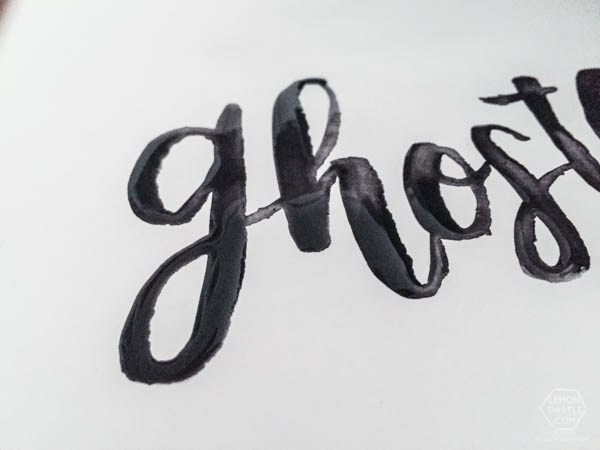 Such a fun idea! A ghostly lettering technique using watercolor. This is perfect for Halloween