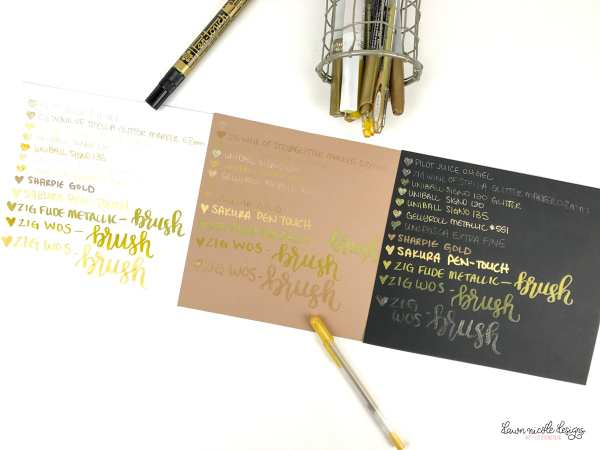 Best Gold Pens for Lettering and Illustration.  I tested a bunch of them so you don't have to! And the winning gold pens are…