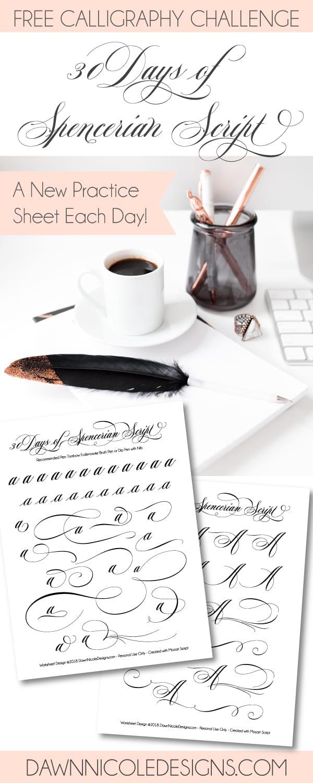 Worksheets Spencerian Penmanship Worksheets 30 days of spencerian script style worksheets dawn nicole worksheets