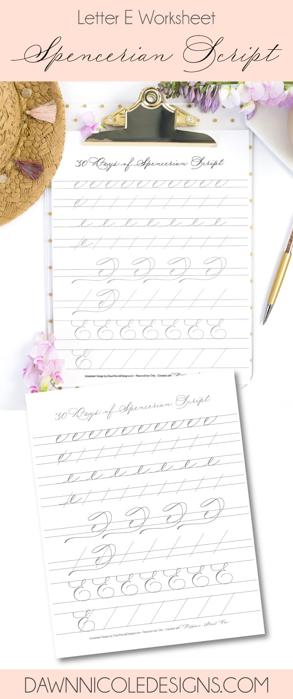 Spencerian Script Style: Letter E Worksheets. This post is part of the 30 Days of Spencerian Script Style Worksheets series. I'm posting a new free Spencerian Style Practice Worksheet every day for thirty days!