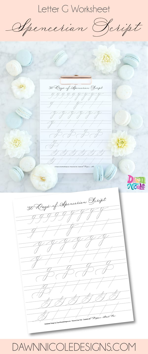 Spencerian Script Style: Letter G Worksheets. This post is part of the 30 Days of Spencerian Script Style Worksheets series. I'm posting a new free Spencerian Style Practice Worksheet every day for thirty days!
