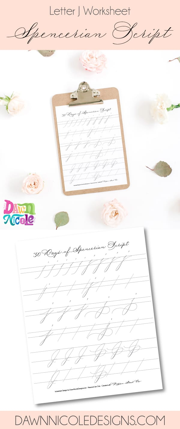 Spencerian Script Style: Letter J Worksheets. This post is part of the 30 Days of Spencerian Script Style Worksheets series. I'm posting a new free Spencerian Style Practice Worksheet every day for thirty days!