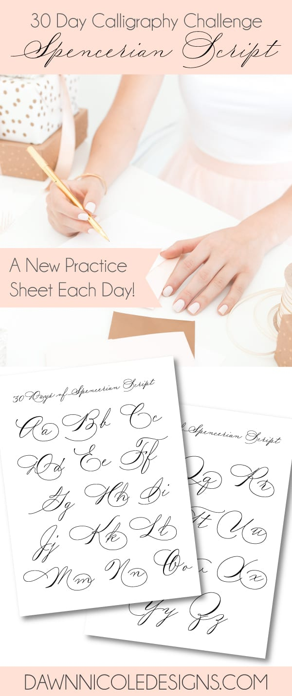 30 Days of Spencerian Script Style Worksheets. A new free Spencerian Style Practice Worksheet every day for thirty days!