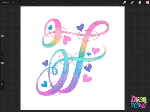 Procreate Tutorial: Rainbow Calligraphy Crayon. Creating this colorful style of lettering is oh-so-easy. Follow these steps to whip up your own version. Plus, a free color palette!