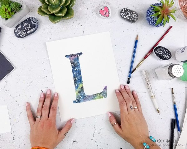 How To Paint a Galaxy Watercolor Initial - Fox + Hazel for Dawn Nicole Designs