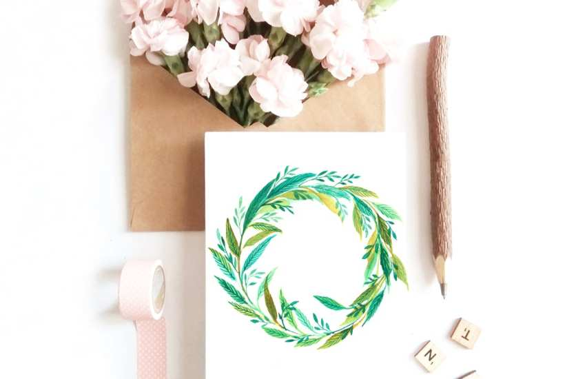 Leafy Watercolor Wreath Tutorial. Learn two ways to paint leafy watercolor wreaths with this step-by-step lesson from Zakkiya of Inkstruck Studio.You'll learn the techniques of layering, blending,and transparency.