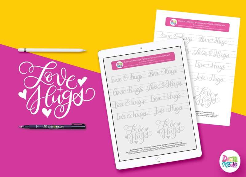 Love + Hugs Brush Calligraphy Practice Sheets. Grab these free brush calligraphy practice sheets in printable and Procreate friendly formats!