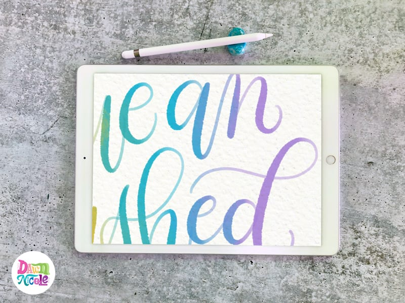 Procreate Tutorial: Colorful Blended Calligraphy | Dawn
