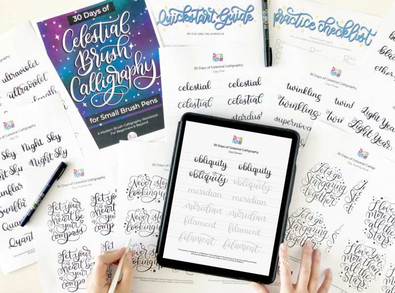 30 Days of Celestial Calligraphy Workbook. Do one worksheet a day to grow your skills! GET IT HERE!