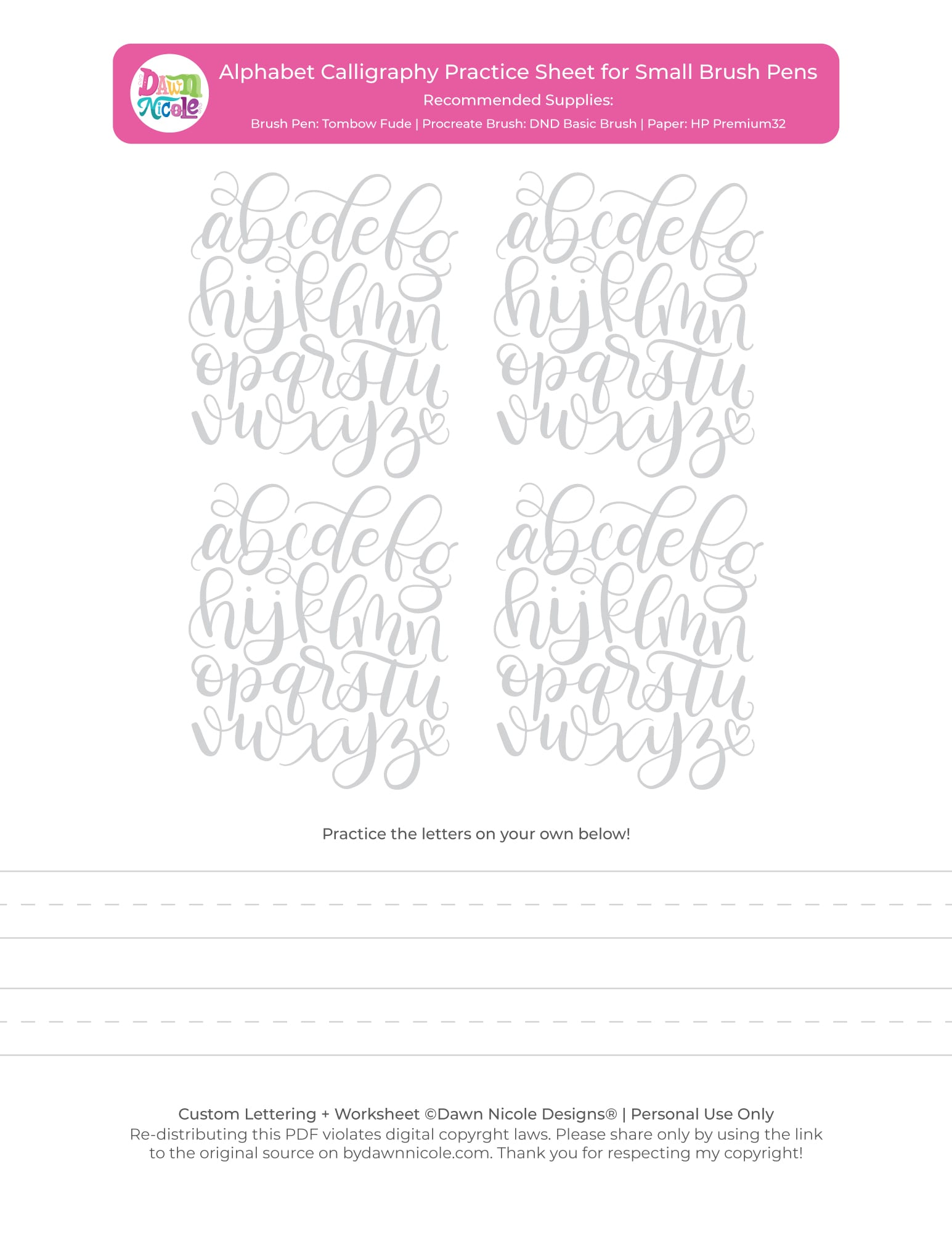 Alphabet Calligraphy Free Practice Sheets