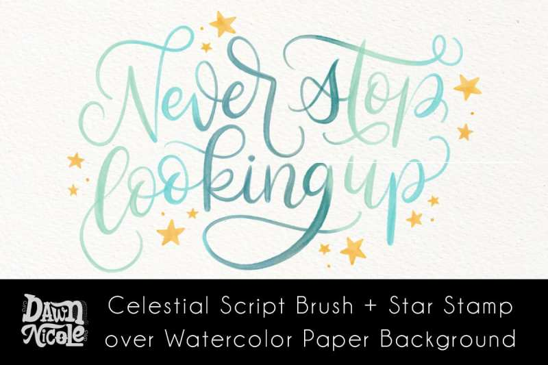 "Watercolor Calligraphy Procreate Tutorial. Learn how to use the Celestial Lettering Brushes and Stamps to create this pretty ""Never Stop Looking Up"" piece."