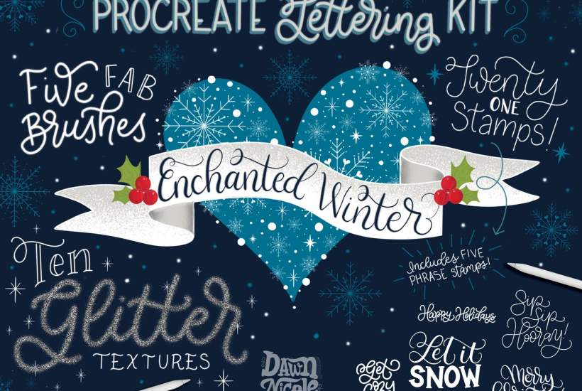 Enchanted Winter Procreate Lettering Kit. My newest Procreate Brush Bundle is full of festive fun! There are 5 new brushes, 20 new stamps (including 5 hand-lettered phrases you can use to stamp and practice your lettering), and 10 Glitter Texture papers created from REAL glitter!