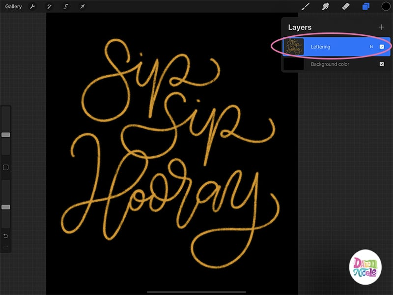Glitter Lettering Procreate Tutorial. Learn how to use the Holiday Shimmer Brush and Glitter Texture papers to easily create a super sparkly lettering style!