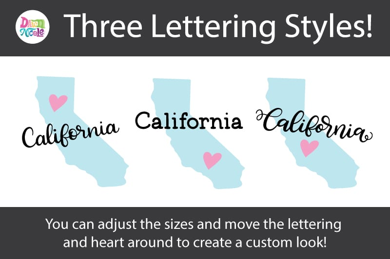 Hand-Lettered California SVG Cut File. Grab this free hand-lettered and illustrated state art SVG in three lettering style options!