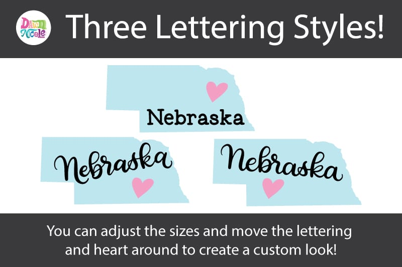 Hand-Lettered Nebraska SVG Cut File. Grab this free hand-lettered and illustrated state art SVG in three lettering style options!