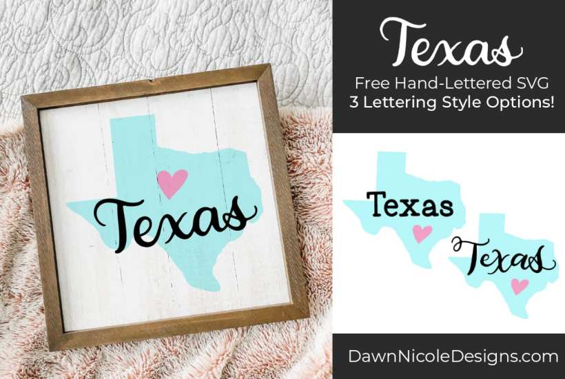 Hand-Lettered Texas SVG Cut File. Grab this free hand-lettered and illustrated state art SVG in three lettering style options!
