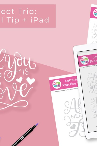 All You Need is Love Practice Sheets. A trio of FREE custom worksheets for use with your iPad, the Tombow Fude, and the Tombow Dual Tip!