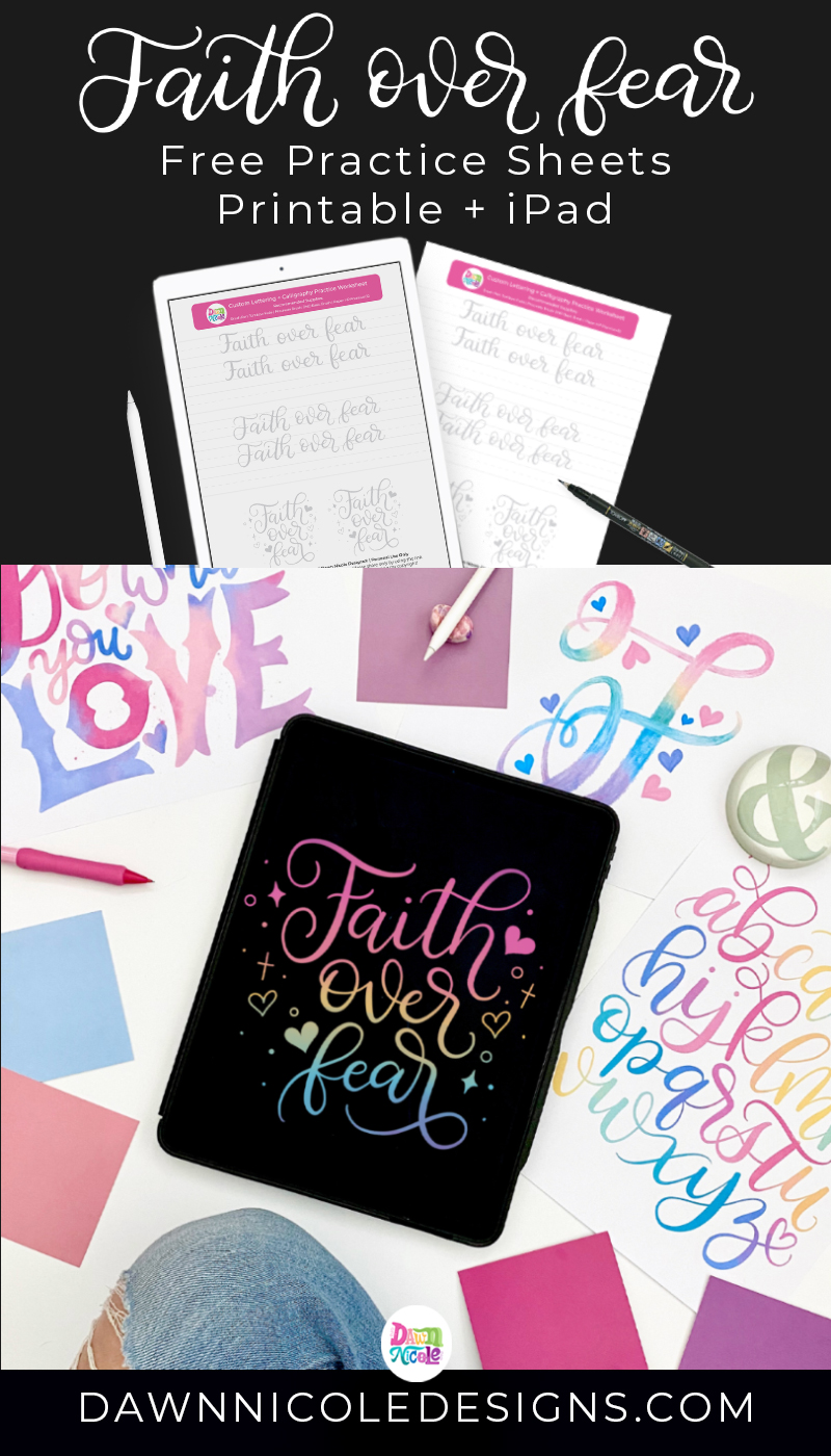 Faith Over Fear Practice Sheets. Download these free custom brush calligraphy practice sheets in both a Printable PDF and Procreate iPad-friendly format.