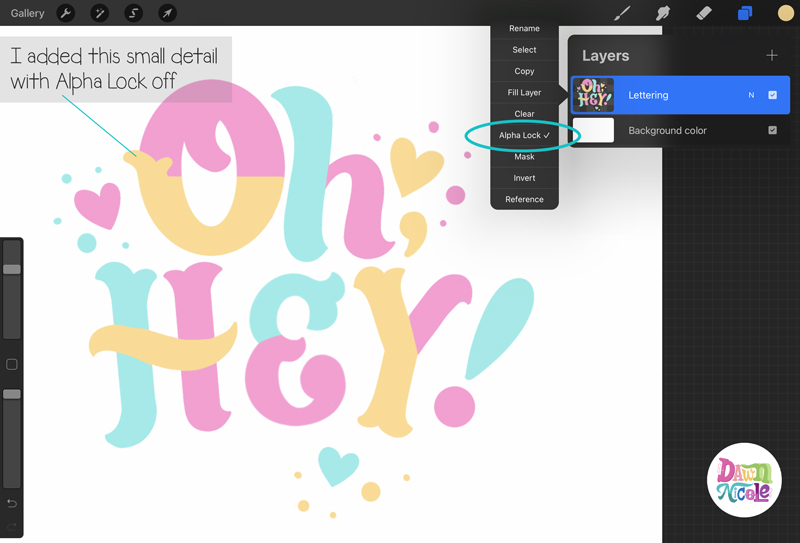 Colorblock Lettering Procreate Tutorial. It only takes a few simple steps to create this cute, colorful lettering on the iPad!