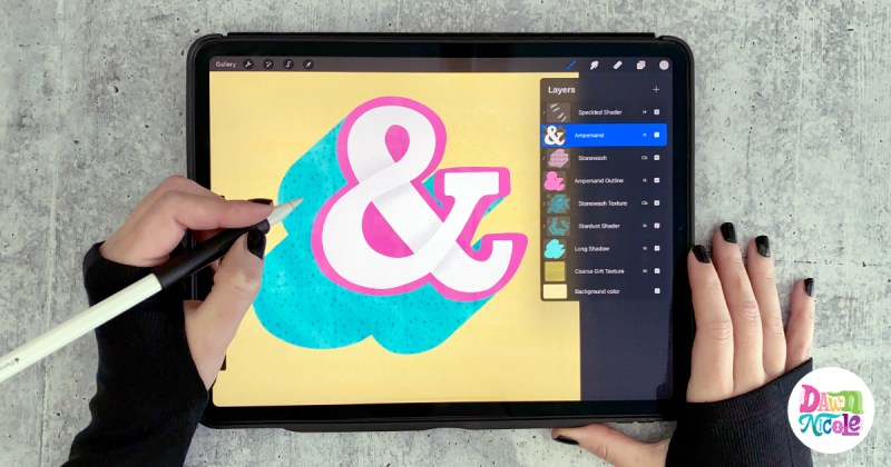 Textured Ampersand: Procreate Video Tutorial. Grab the free color palette and let's create this ampersand together step-by-step!