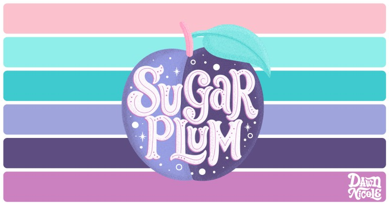 """Sugar Plum Color Palette. Grab the free color palette I used to create this """"Sugar Plum"""" hand lettering in the Procreate app!"""