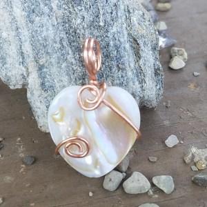 Shell heart copper wrap tiny pendant