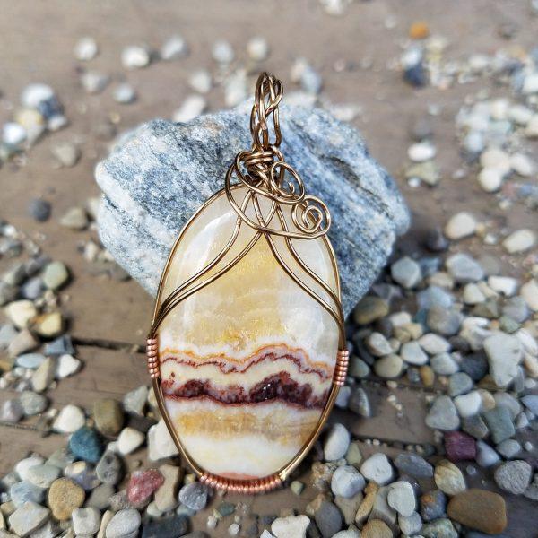 Yellow Aragonite copper wire wrap pendant