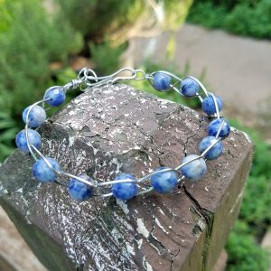 Sodalite Stainless Steel Braided bracelet
