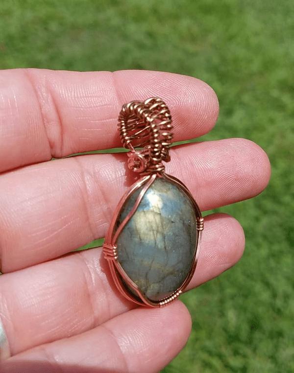 Bright blue and green flash Labradorite copper wire wrap pendant