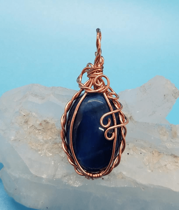 Striking Blue Tigers Eye Copper wire wrap pendant