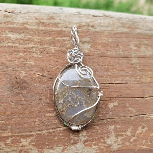 Moss Agate stainless steel wire wrap pendant