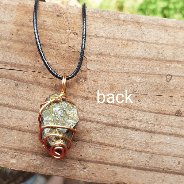 Pyrite copper wire wrap pendant