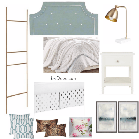 mood board for blue accent wall bedroom