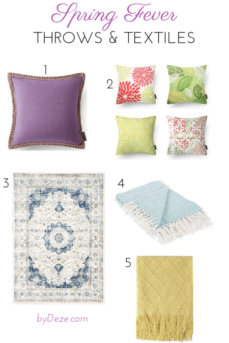 5 textiles (pillow cases, throws and a rug) for spring 2019