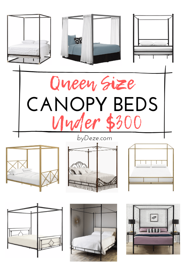 a flyer with graphic depiction of queen size canopy beds