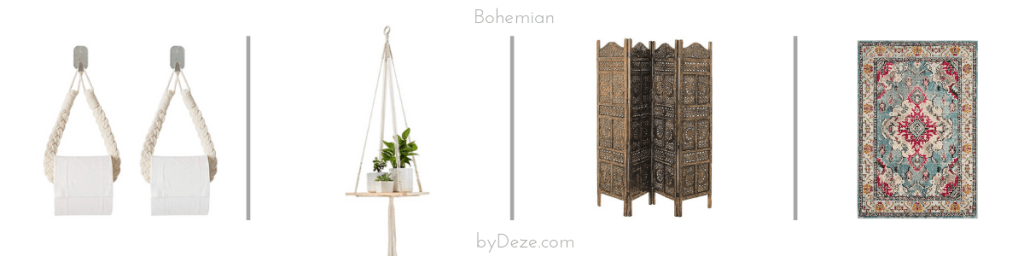 four bohemian decor items: toilet paper hangers, a plant holder, a room divider and a vintage Persian rug