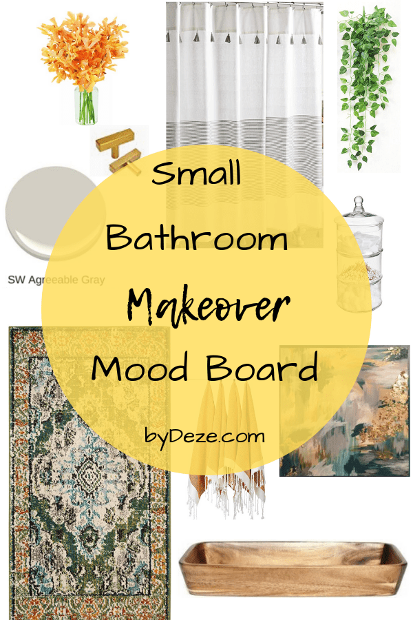 a mood board of my small bathroom makeover