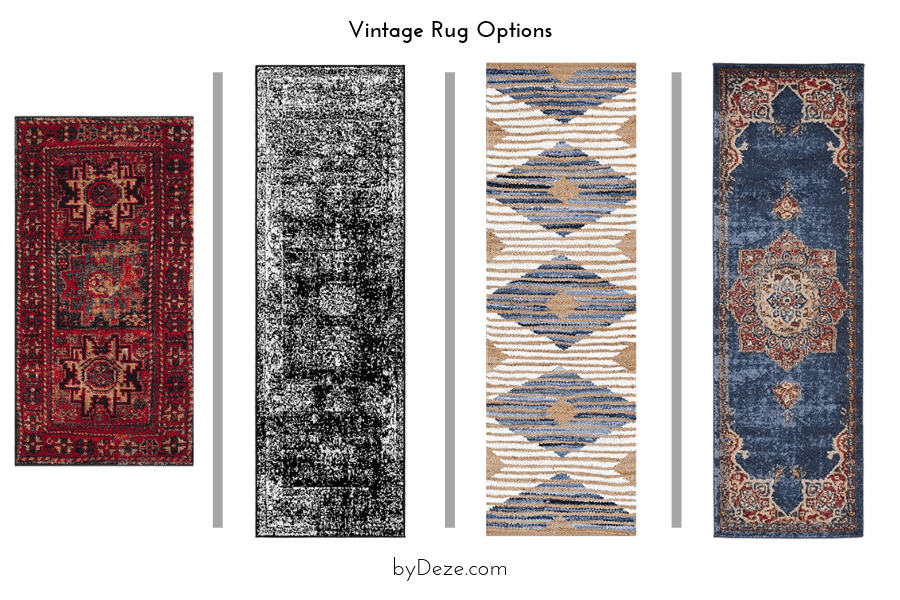 4 vintage rug options that can be incorporated in the bathroom mood board