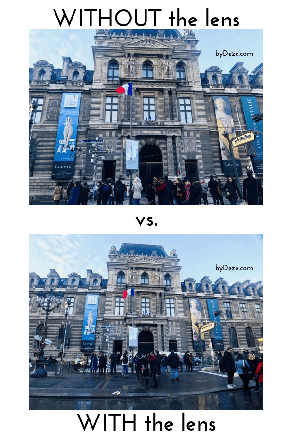 A comparison of the front of the Louvre without the lens and with the lens