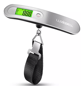 a digital luggage scale is a must have travel item if you want to avoid overweight luggage fees