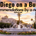 HEADER PICTURE OF BALBOA PARK FOUNTAIN with san diego on a budget recommendations by a native written across it