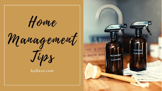 home management tips header with spray bottles and a brush