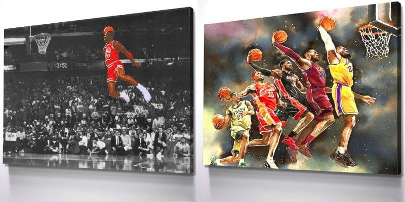 canvas prints of michael jordan and lebron