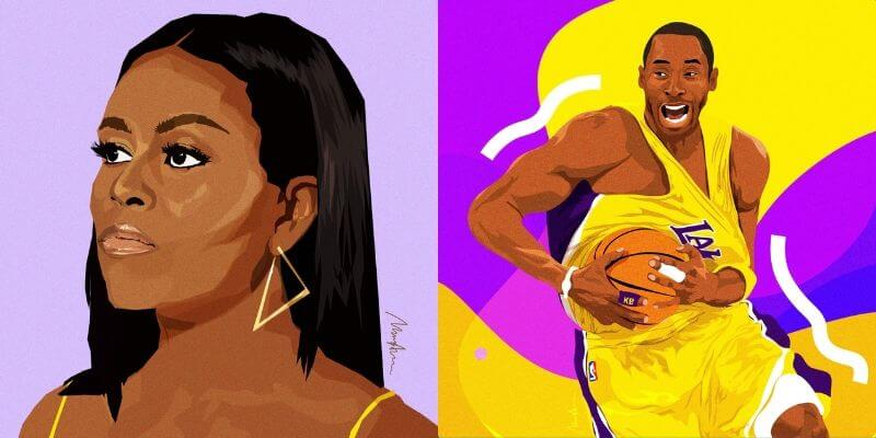 digital illustrations of michelle obama and kobe bryant from etsy