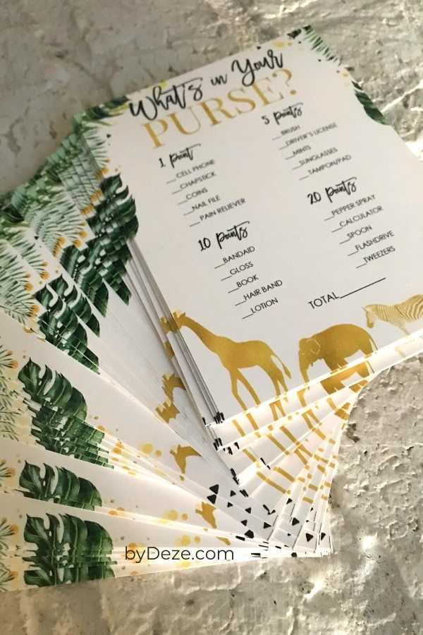 virtual baby shower games printed on cardstock