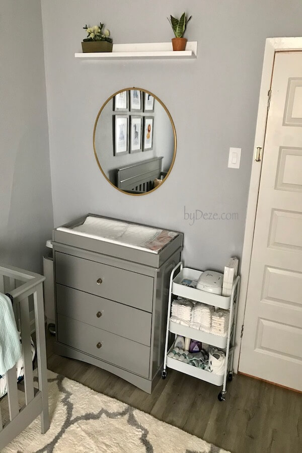 gray baby changing station