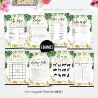 Jungle Themed - Baby Shower Game Bundle