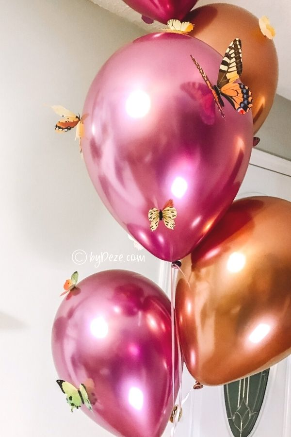 butterfly party balloons close up
