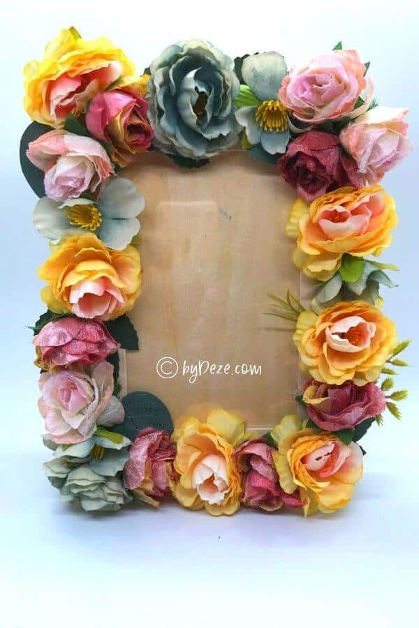 diy picture frame with flowers