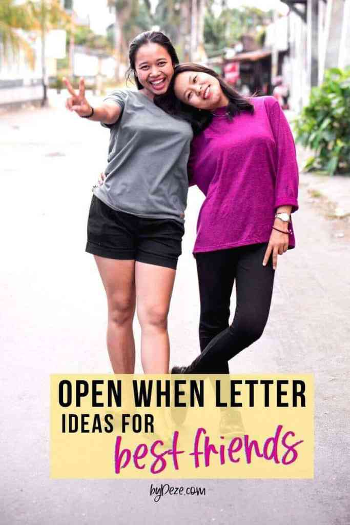two asian girl BFFs showing the peace sign - post says open when letters for best friends